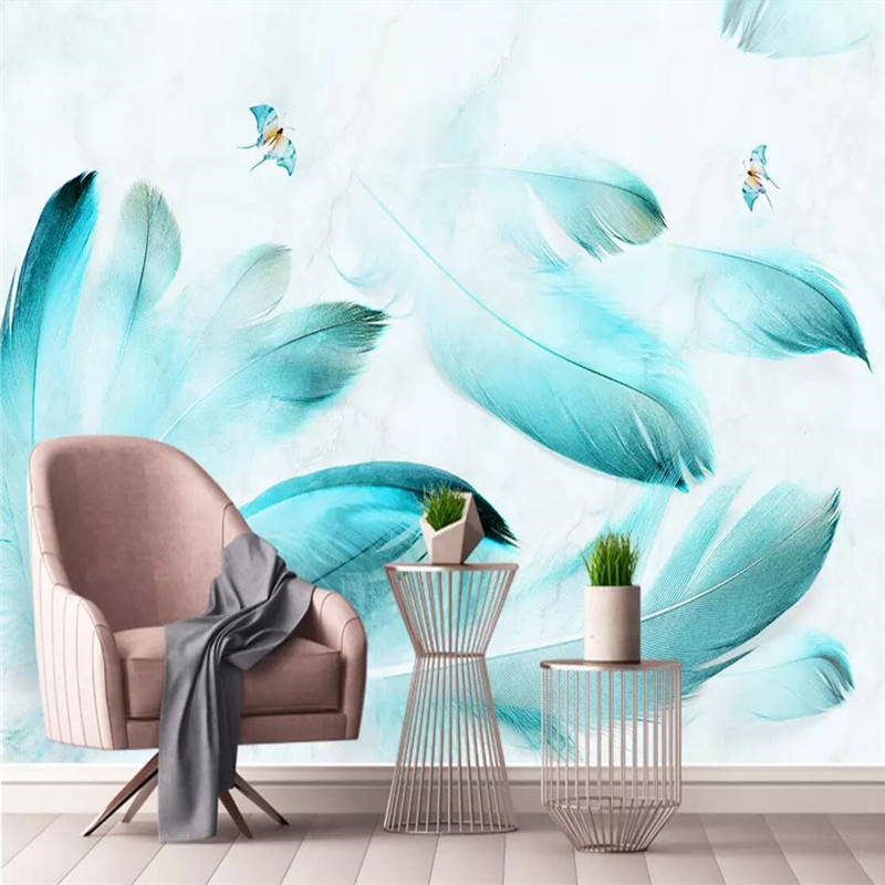 Us 8 07 43 Off Decorative Wallpaper Modern Aesthetic Style Watercolor Blue Feather Marble Background Wall In Fabric Textile Wallcoverings From