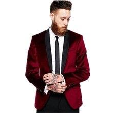 Shawl Lapel Men's 2 Piece Wedding Velvet Groom Tuxedos Groomsman Best Man Suits