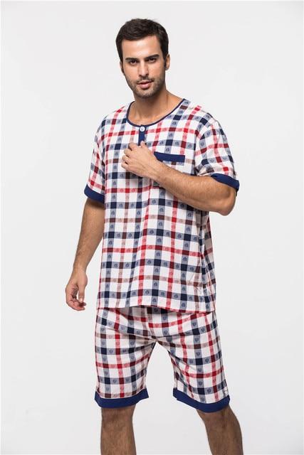 Male summer short-sleeve Rayon sleepwear 2016 luxury Pajamas men clothing casual lounge set