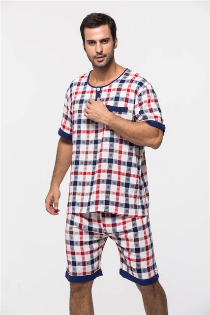 Rayón ropa de noche masculina de la corto-manga 2016 de lujo hombres Pijamas ropa set salón informal