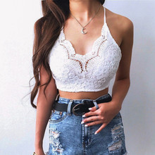 Summer Women Crochet Tank Tops Sleeveless Lace Vest Bralette Bra Cami Crop Top Sexy Backless Halter Crop Top Cheap Clothing crop lace top