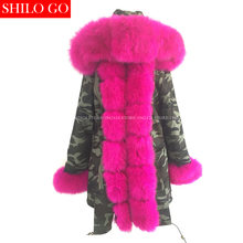 Plus 2016 new winter army green jacket women outwear thick parkas natural real fox fur collar Rose rabbit coat hooded pelliccia