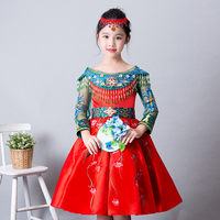Embroidery Flower Girl Dresses Beading Girls Formal Dress Evening Lace up Hollow out Sleeve Kid Pageant Dress Birthday Party B79