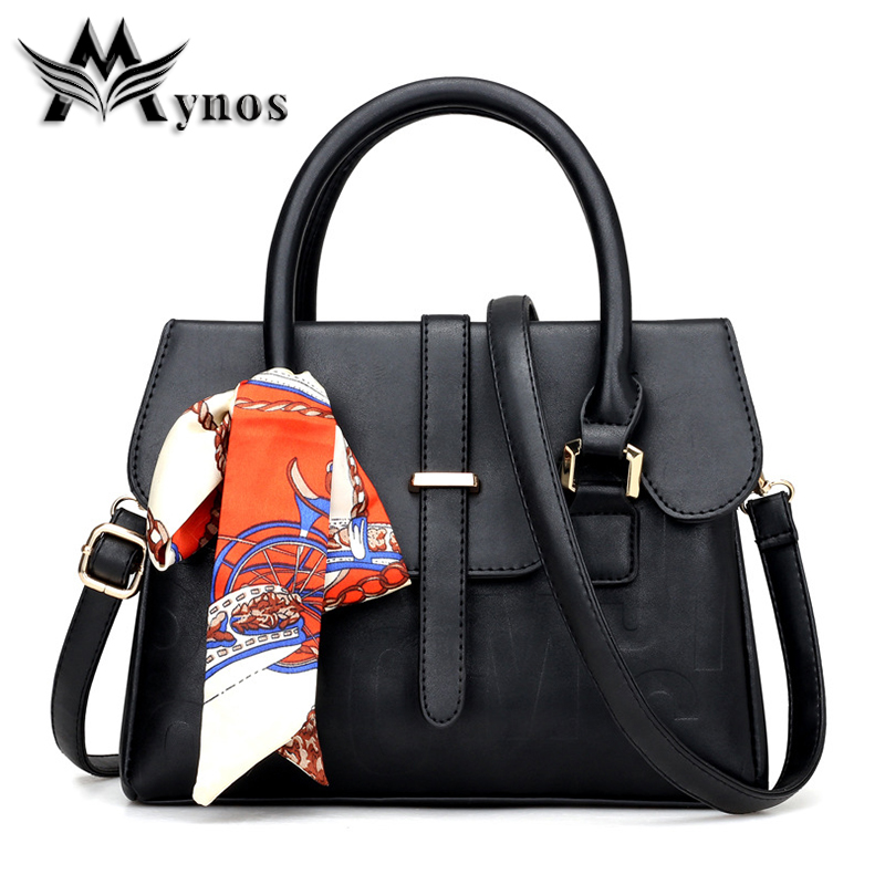 Mynos Fashion Famous Top-Handle Bag Women Leather Handbag Shoulder Crossbody Bag For Women Messenger Bag Ladies Tote Sac A Main women handbag shoulder bag messenger bag casual colorful canvas crossbody bags for girl student waterproof nylon laptop tote