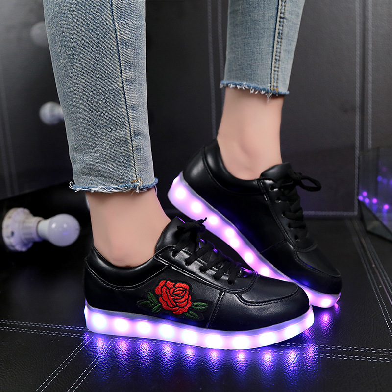 2018 New Size 26-44 Led Luminous Sneakers Glowing Light Up Shoes Led Girl Boy Childrens Shoes Tennis with Flower