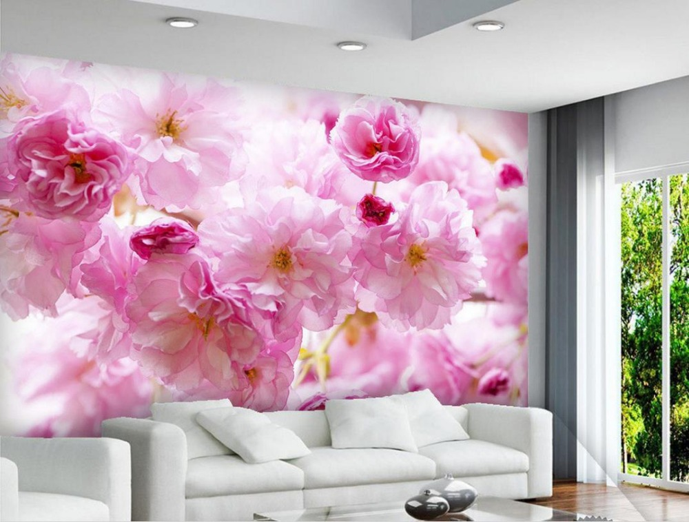 Brick wall wallpaper pink cherry blossoms custom 3d murals wallpaper ...