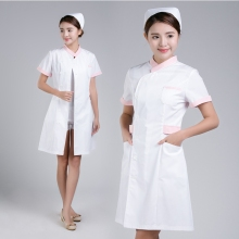 2019 Summer short sleeve beauty salon uniform medical clothing wahsable and durable white nurseing coat with free cap