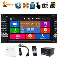 2018 Double 2 Din DVD Player 6.2 Touchscreen Bluetooth Stereo FM AM Car Radio Subwoofer HD 1080P Video USB SD Wince System SWC