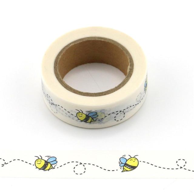 1 rollo de lindas abejas decorativas Washi cinta DIY Scrapbooking cinta de animales para oficina escolar