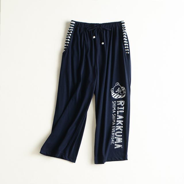 Marca ejecución fina tela de la impresión de la letra doble bolsillo cintura elástico salón pantalones a media pierna M L de Punto de algodón
