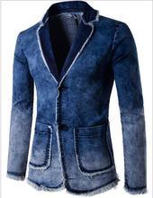 Ковбой пиджак джинсы куртки мужчины 80% Хлопок Джинсовые куртки мужчины пиджак Костюмы для мужчин Бренд-одежда Случайный М-4XL
