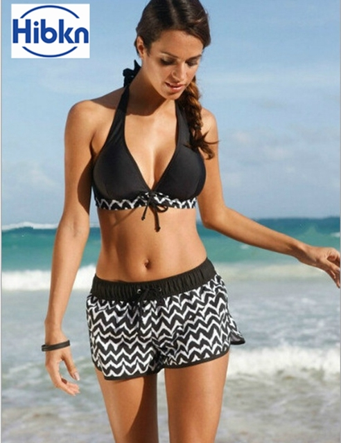 d982eab7a9ace S-5XL PLUS size striped two pieces swimsuit bar top shorts bottom sport  swimwear vintage stripes bathing suit halter swimwear