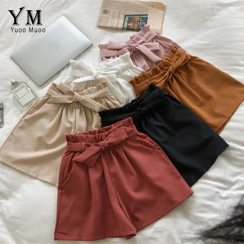 Yuoomuoo Good Quality Comfy 2019 New Korean Style Female Cute Shorts High Waist Loose Wide Leg Short Femme Elastic Waist Belt Shorts Aliexpress