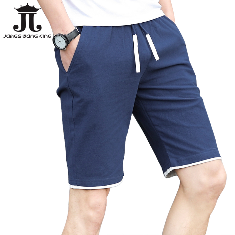 Summer mens shorts casual 100%cotton Elastic waist shorts loose solid Breathable short m ...