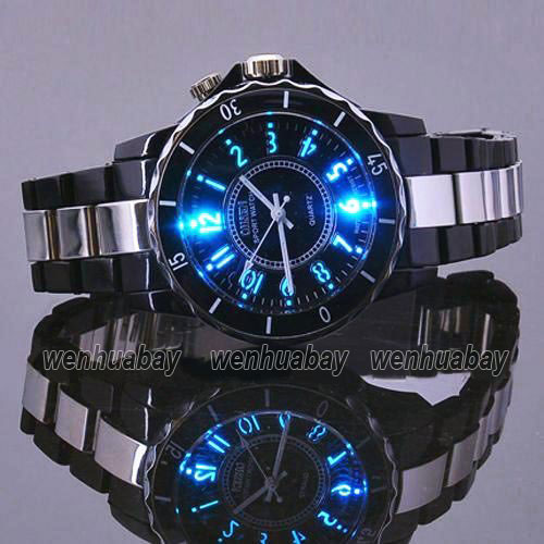 OHSEN Hodinky Men's Black Luxury Waterproof Sports Watches 7 Multi-color Led Light Clock Watch OH02 Relogio Esportivo Feminino