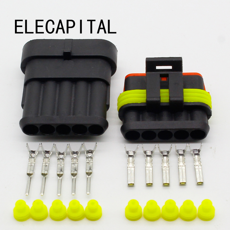 5 Sets NEW Car Part 5 Pin Way Sealed Waterproof Electrical Wire Auto Connector Plug Set Free Shipping 10kit 282088 1 282106 1 ip67 4pin way super sealed waterproof electrical wire connector auto plug for car caravan marine jet
