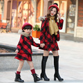 Fashion Family Clothing Plaid Coat+Dress 2pcs Clothes Mother/Mom and Daughter Clothes Dresses Cloting Set Family Set SD03