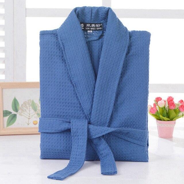 Waffle cotton bathrobe men  summer women nightgoen sleepwear ladies blanket towel fleece lovers long soft robe spring 1