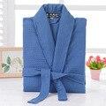 Waffle cotton bathrobe men plus size summer women nightgoen sleepwear ladies blanket towel fleece lovers long soft robe spring