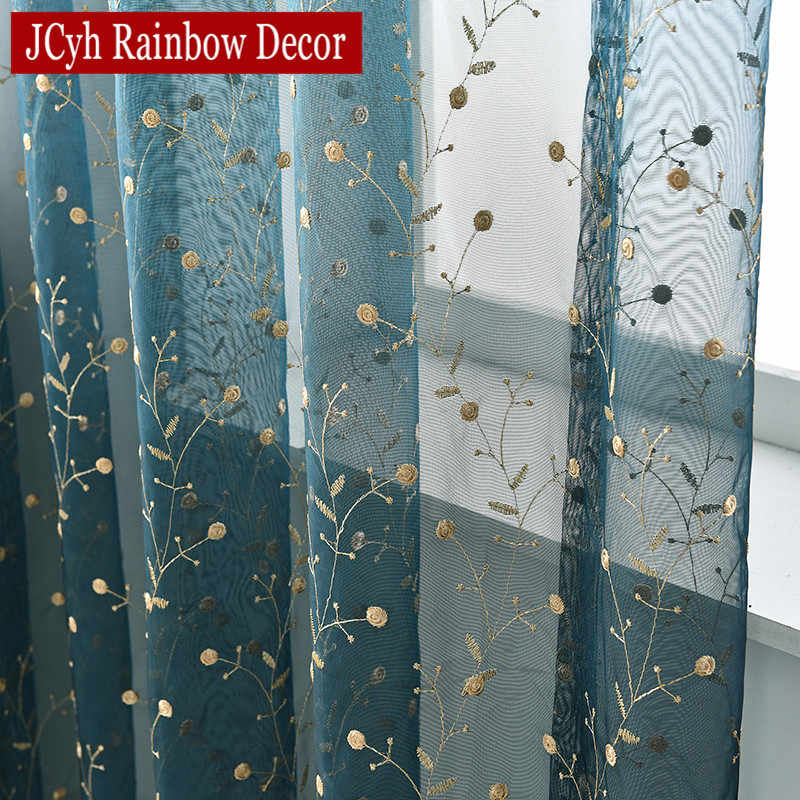 Luxury Embroidered Leaves Tulle White Sheer Curtain For Window Organza Cheap Curtains For Living Room Door Curtain Solid Blue