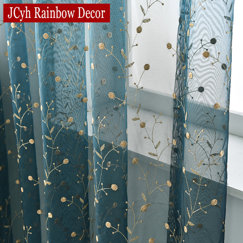 Luxury Embroidered Leaves Tulle Organza Sheer Curtain For Window Organza Cheap Curtains For Living Room Door Curtain Solid Blue
