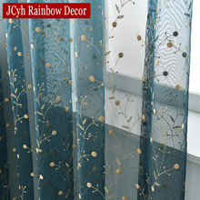 Luxury Embroidered Leaves Tulle Organza Sheer Curtain For Window Cheap Curtains Living Room Door Solid Blue
