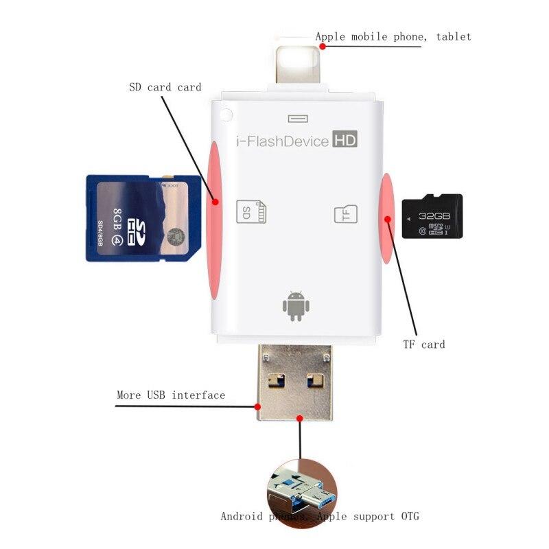 3 en 1 OTG Lecteur de Carte pour Apple iphone 6 s 7 plus Pendrive métal Expansion Android téléphone Micro USB SD/TF Lecteur de Carte