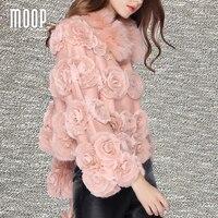 Women Winter Genuine Leather Jackets Real Rabbit Fur Floral Decor Coats Real Fox Fur Collar Decor
