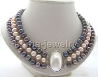 193row 10mm natural black pink round freshwater pearl necklace