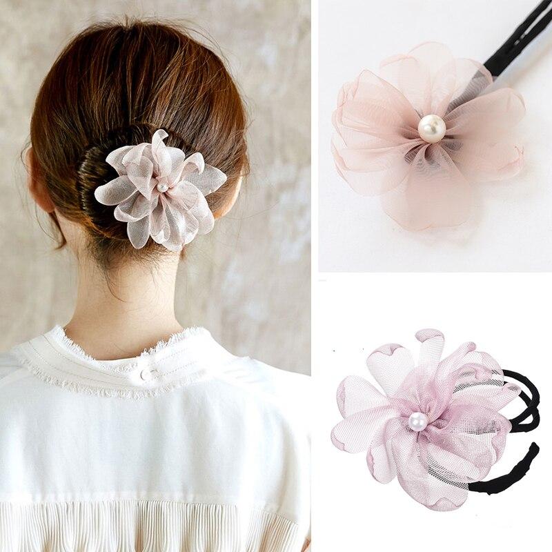 M MISM Korean Style Big Flower Hair Bun Makers Girls Flora Pearl Beads Styling Doughnut Tool Headband Hair Accessories For Women