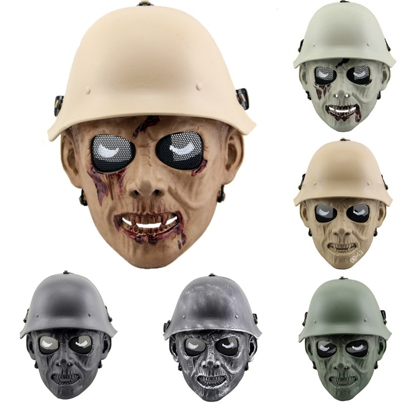DC13 Zombie Skeleton Full Face Metal Mesh CS Wargame Skull Mask Paintball Airsoft Military Tactical Mask