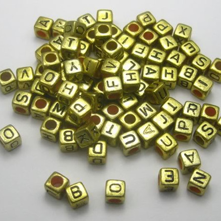 Lovely Wholesale 6x6mm Alphabet Letter Acrylic Cube Loose Beads Gold Color For Diy Loom Band Bracelet Making 500pcs Lb-07 To Clear Out Annoyance And Quench Thirst Beads & Jewelry Making