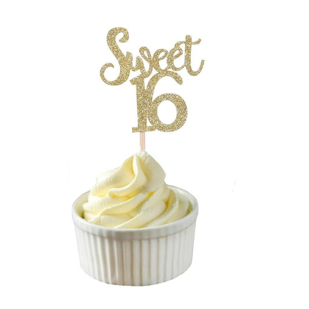 Image 2 - 10pc Gold & Silver & Blue Sweet 16 Cake Topper Letter Cupcake Toppers 16th Happy Birthday Party Cake Decoration Christmas 2019,Q-in Party DIY Decorations from Home & Garden