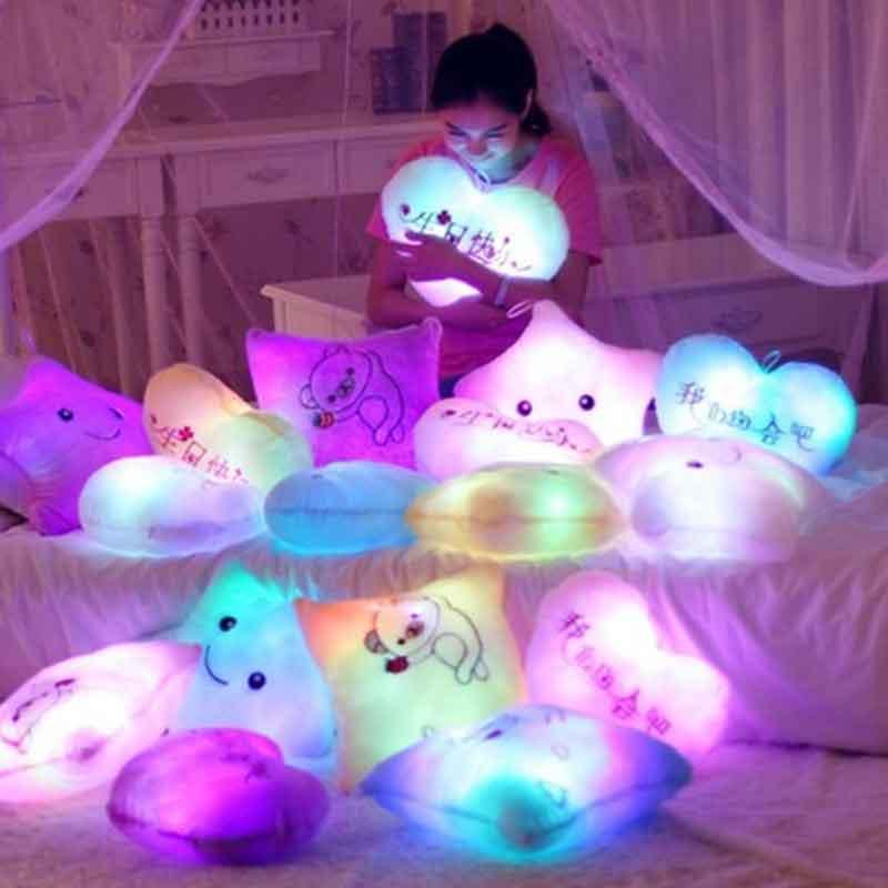 toys for children juguetes luminous light led star plush cloud Hold pillow kawaii coussin nuage girl gift bt21 heart room moon