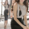Nuevo 2016 Verano de Las Mujeres Elegantes Trabajan Desgaste de la Oficina OL Delgado Lápiz Vestidos de Dama Mangas Fuera del Hombro Sexy Vestido Vestidos