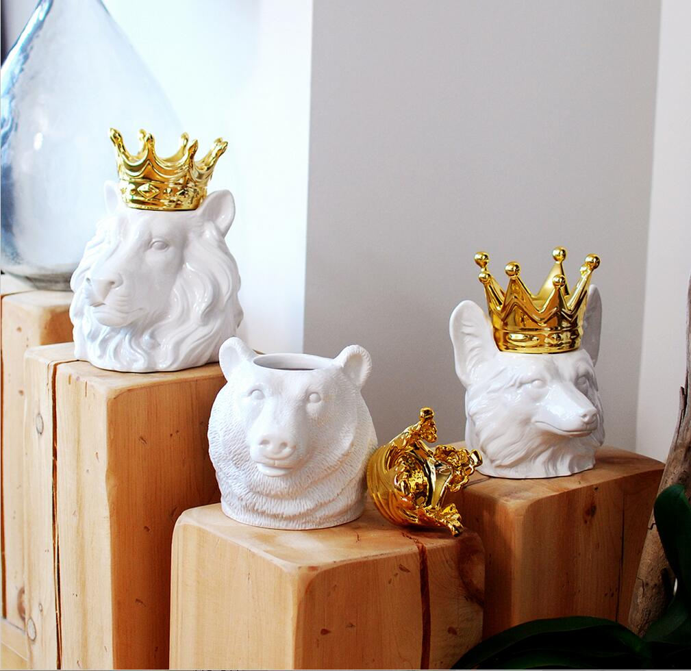 INS Golden Crown Animal Head Storage Jar Bear Head Fox Head Ornaments  Figurines Ceramic Miniatures For Wedding Home Office Decor In Figurines U0026  Miniatures ...