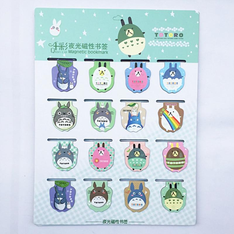 16 Pcs pack Kawaii font b Anime b font Totoro Luminous Magnet Bookmarks Paper Clip School