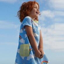 Little Girls Summer Dresses Robe Enfant Princess Dress Costumes for Kids Clothing Rainbow Print 100% Cotton Girls Jersey Clothes