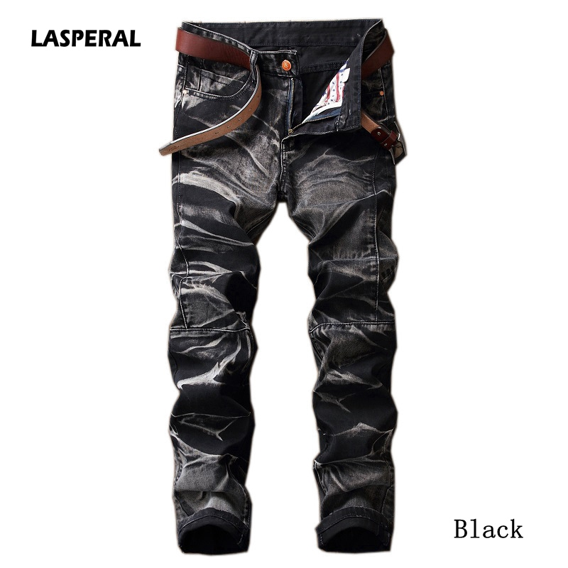 LASPERAL Mens Vintage   Jeans   2019 Male Straight Pleated Pants Trousers High Quality Brands Mens Fit Denim Pants Plus Size 29-42