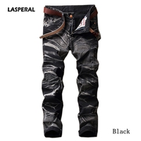 LASPERAL 2017 New Autumn Straight Retro Pleated Denim Men Jeans Solid Fashion Casual Trousers Personality Long