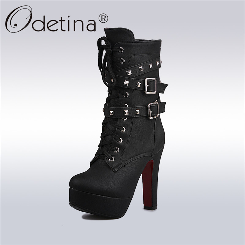 Odetina 2017 Sexy Extreme High Heels Black Women Platform Motorcycle Ankle Boots Lace Up Rivets Punk Boots Buckle Straps Ladies kibbu lace up high heels women punk style ankle boots thick bottom platform shoes european motorcycle leather boots 6 colors