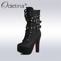 Odetina 2017 Sexy Extreme High Heels Black Women Platform Motorcycle Ankle Boots Lace Up Rivets Punk Boots Buckle Straps Ladies