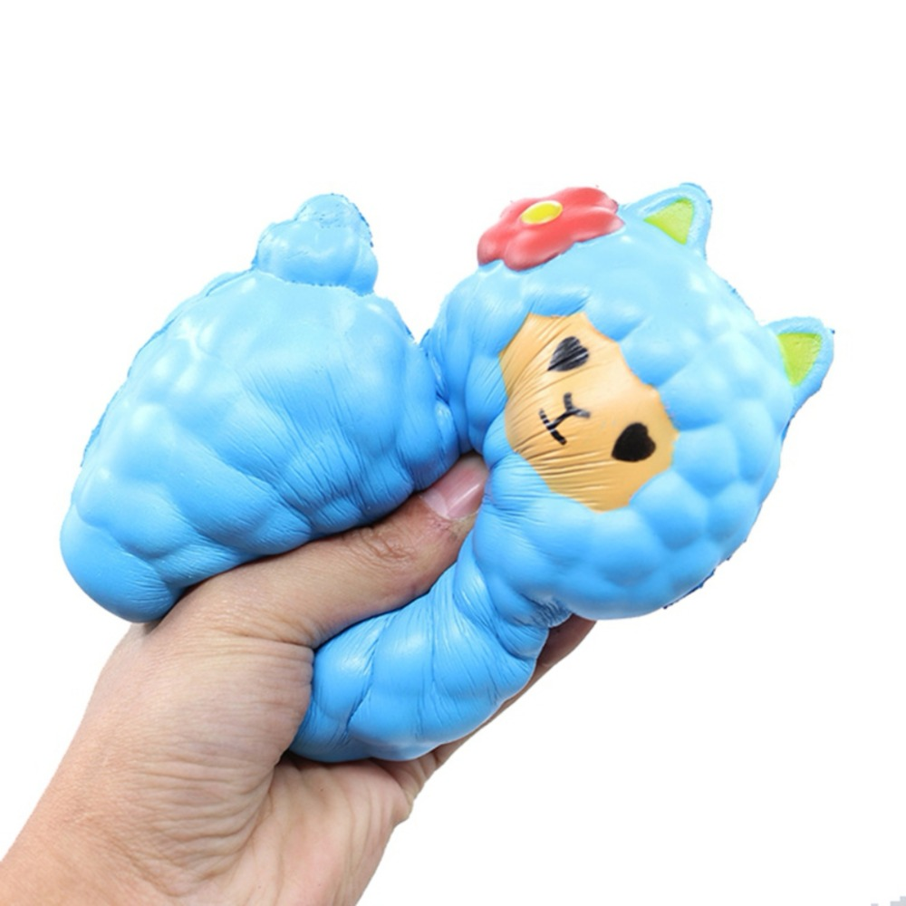 17cm Jumbo Kawaii Cute Alpaca with Bell Squishy Phone Strap Decor Slow Rising Collection Kids Funny Sheep anti stress Toy Gift