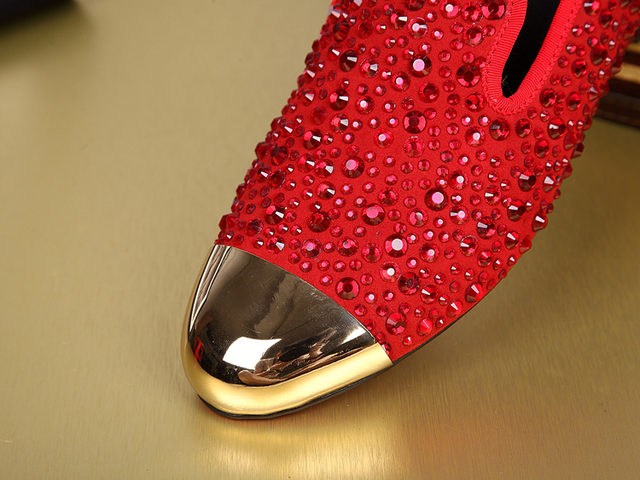 New mens fashion rhinestone black red crystal luxury party shoes men loafers flats round toe slip on wedding dress shoes size 46