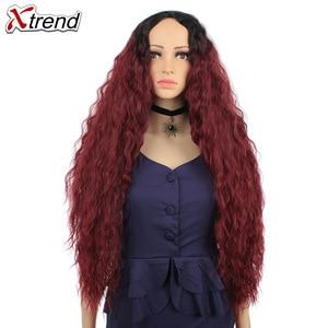 Image 3 - 30 インチ合成かつらブロンド赤黒オンブルアフロかつらのためのカーリーブロンド茶色髪の女性ウィッグ販売