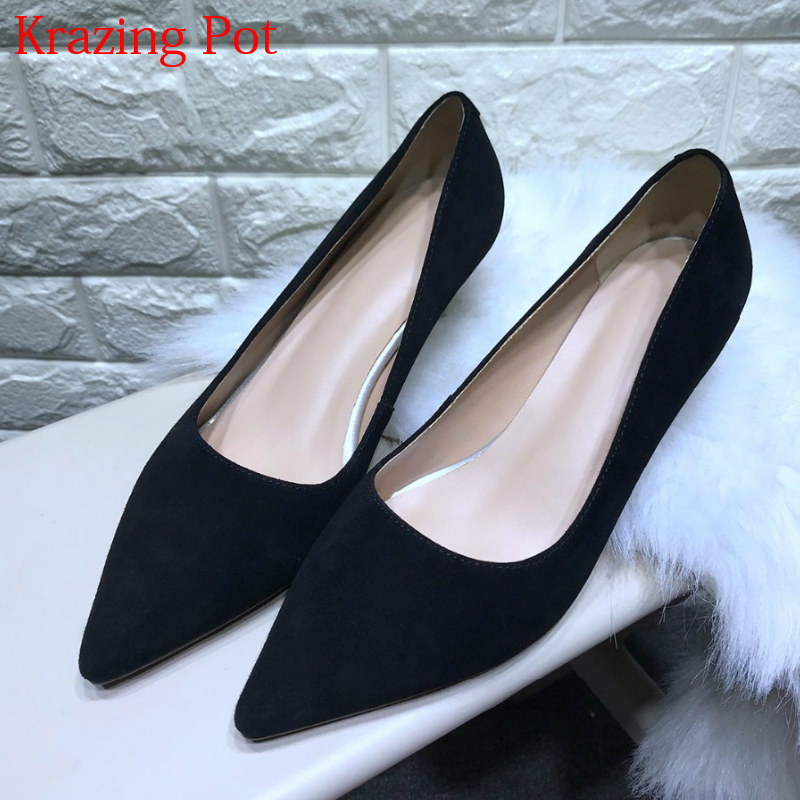 2018 Superstar Office Lady Genuine Leather Brand Shoes Fashion Pointed Toe High Heels Stiletto Women Pumps Wedding Shoes L012018 Superstar Office Lady Genuine Leather Brand Shoes Fashion Pointed Toe High Heels Stiletto Women Pumps Wedding Shoes L01