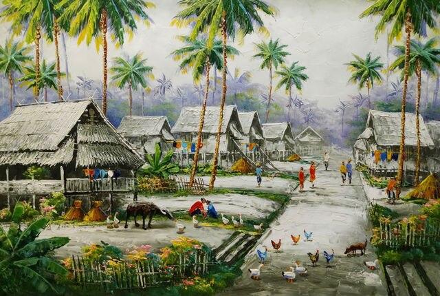 Nietypowy Okaz Ręcznie Malowane Gęsty Olej Na Płótnie Malarstwo Chiński wsi TH65
