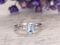 5x7mm Emerald Cut Natural Genuine Blue Aquamarine Gemstone Ring Engagement Wedding Rings 14k White Gold Women Antique Jewelry