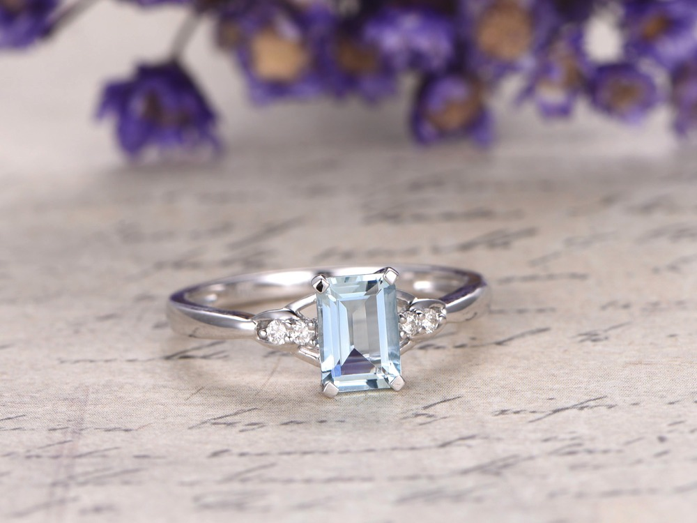 5x7mm Emerald Cut Natural Genuine Blue Aquamarine Gemstone Ring Engagement Wedding Rings 14k White Gold Women Antique Jewelry