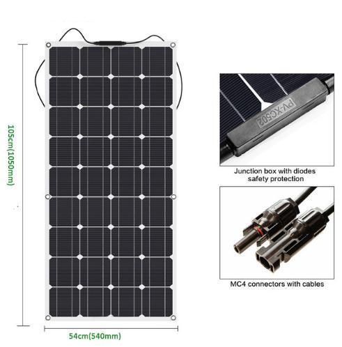 New Mono 18V 100W Flexible Solar Panels for RV Boat Cars Battery 12V Solar Charger